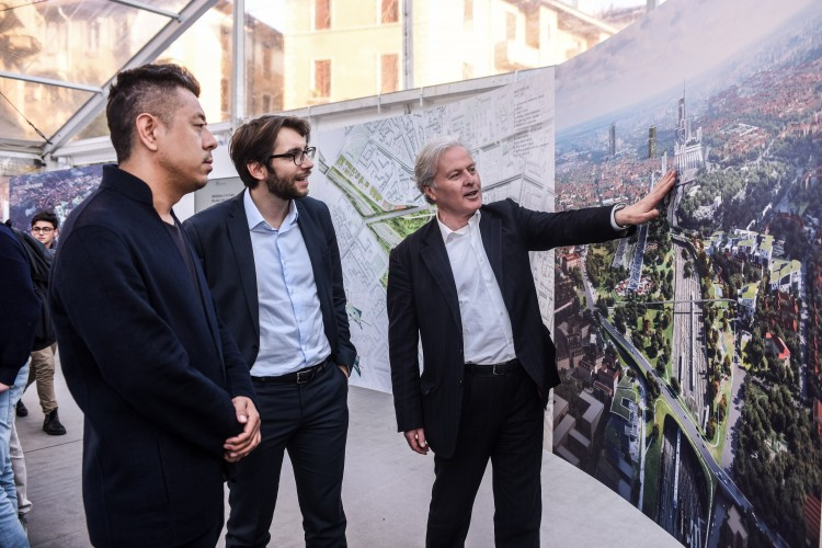Ma Yansong, Pierfrancesco Maran (Councilor or Milan Urban Planning, Green & Agriculture), Carlo de Vito (CEO of FS Sistemi Urbani)