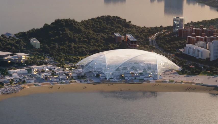穹顶下是以人为尺度的街道和建筑群,重现原村庄的肌理