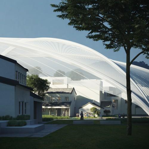穹顶下是一人为尺度的街道和建筑群 重现原村庄的肌理