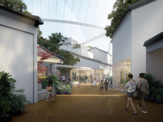 街道、景观、建筑、穹顶构成文化中心设计的整体