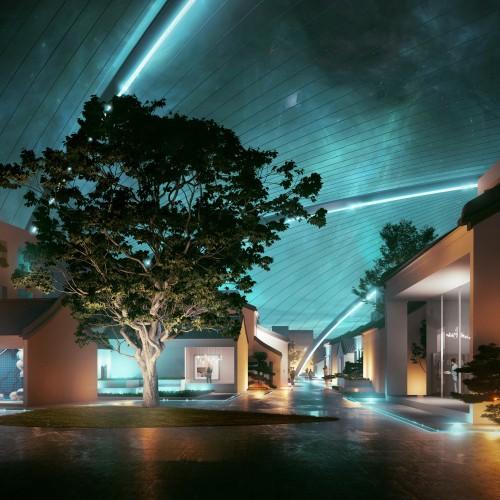 夜晚穹顶下的空间